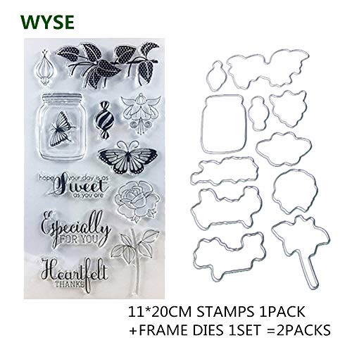 1120cm Clear Cling Stamp and Cutting Die cuts Butterfly Flower WYSE Stamp Dies for Scrapbooking Card Making (vase)