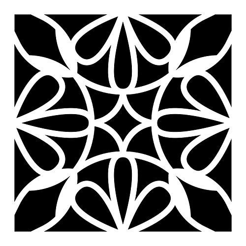 Artemio 15075003 sjabloon Home Déco – tegel cement bloemblaadjes, kunststof, zwart, 17,5 x 0,2 x 21,5 cm
