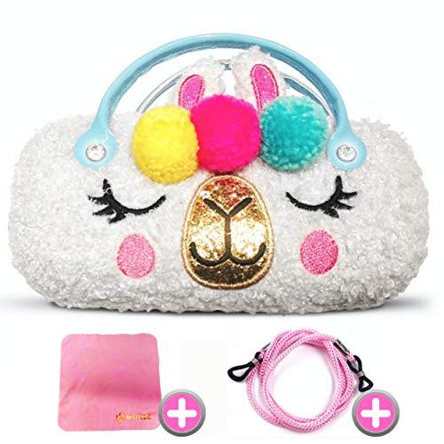 Estuche para gafas de unicornio, llama + [2 BONOS], caja rígida para mujer, niño, niña, protección para gafas y gafas de sol, caja de almacenaje que puede ser usada como bolso, ¡ideal de regalo!