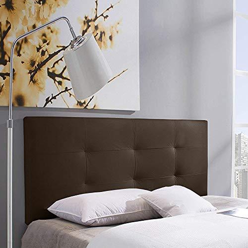 Cabecero tapizado Carla 140X60 cm Chocolate, para Cama de 135 cm, Acolchado con Espuma, 8 cm de Grosor, Incluye herrajes para Colgar