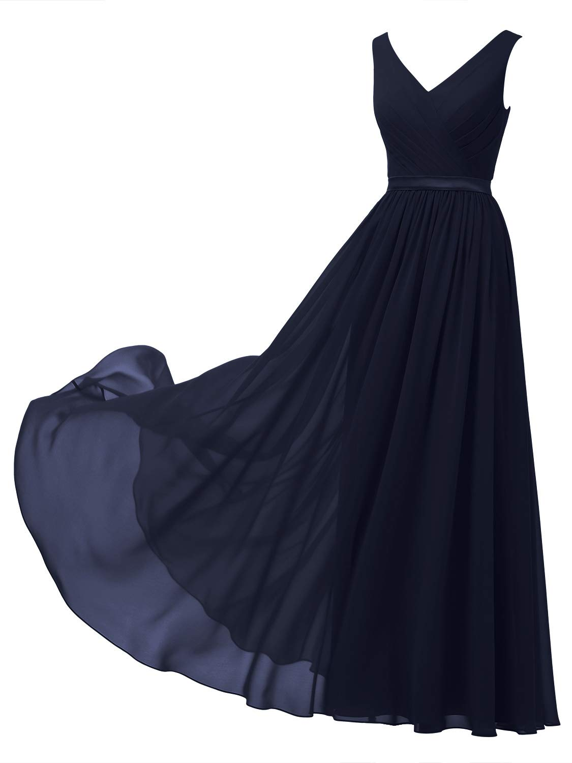 Available at Amazon: Alicepub V-Neck Chiffon Bridesmaid Dress Long Party Evening Formal Gown Sleeveless