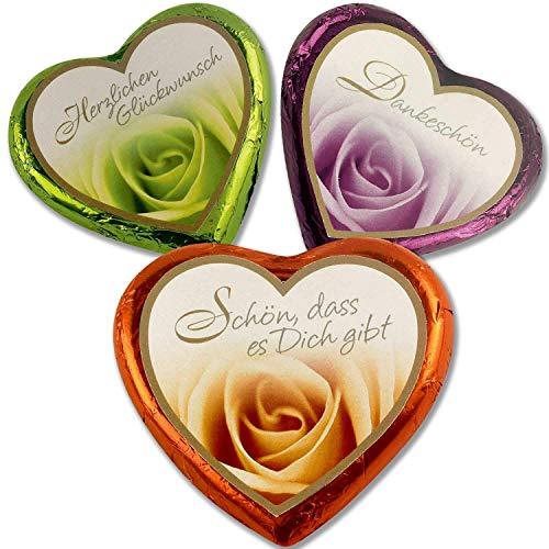20 Stück Schokoladen-Nougat-Herzen, Pralinen - kleine Geschenke als Dankeschön, Süßigkeiten Box, Gastgeschenke, zum Kaffee, als Tischdeko, Mini Geschenke in Confiserie Qualität (Rosen-Design)