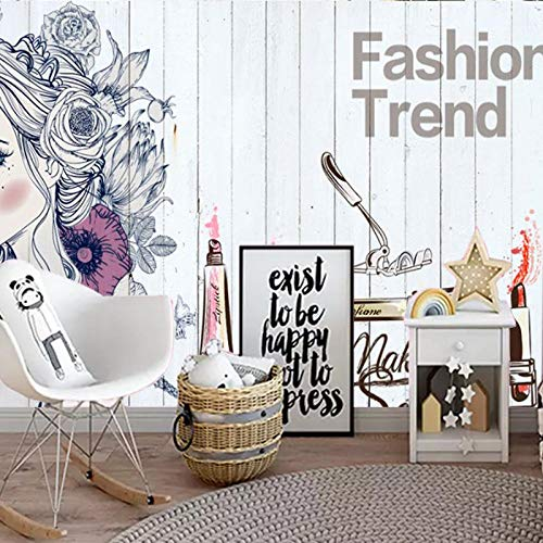 Decoratieve Mural_Fashion Make-up huidverzorging schoonheidssalon nagel Ladentheke behang Koreaanse Studio decoratieve wandafbeelding fotobehang 3D-effect behang behang bos vintage 430 cm × 300 cm.