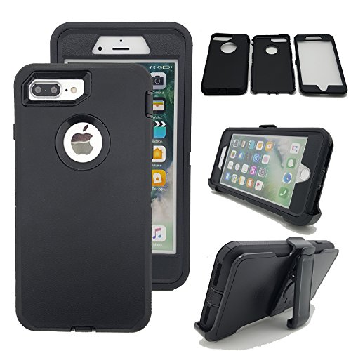 iPhone 8 Plus Case, Kecko Heavy Duty Tough Shockproof High Impact Hybrid Military Grade Armor Case Cover with Belt Clip and Build in Screen Protector for Apple iPhone 8 Plus / 7 Plus (Black)