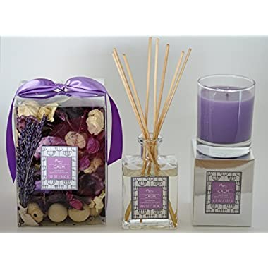 Manu Home Lavender Gift Set ~ Includes CALM Lavender potpourri (12oz), Lavender Candle (4.5oz) & Lavender Reed Diffuser (4oz) & 8 Reeds Sticks.