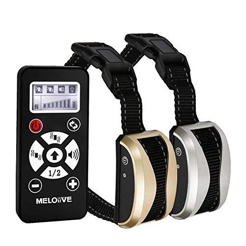 Meloive Collar Recargable Antiladrido Dos Perros con Alcance de 730m, Collar de Adiestramiento con Modos Automático y Manual, 7 Niveles de Vibración, Sonido.