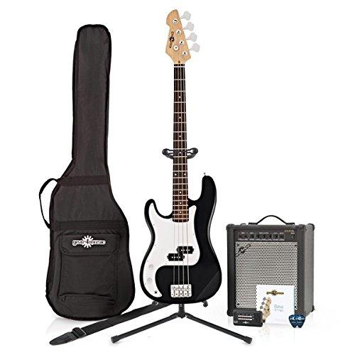 LA-Linkshander-Bassgitarre Black im Paket mit 35-Watt-Verstarker