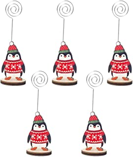 Amosfun 5Pcs Christmas Memo Holder Cartoon Penguin Photo Holder Stand Table Number Card Clips with Base for Christmas Wedding Party Decorations