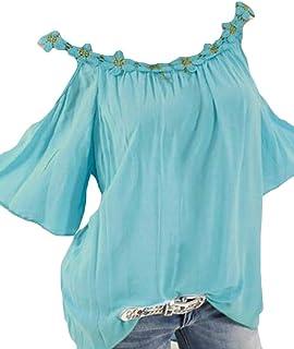 Suncolor8 Women Loose Plus Size Short-Sleeve Summer Off Shoulder T-Shirt Tee Blouse