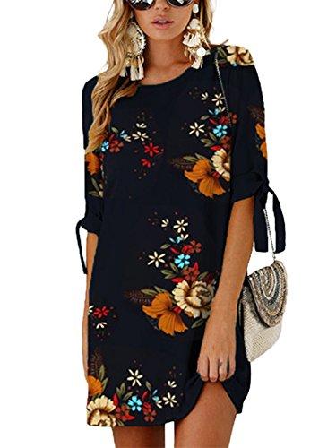 YOINS Vestido de mujer de cuello redondo, blusa, vestido de invierno para mujer, manga larga, minivestido, túnica, suelto, con lazo D-azul. XL