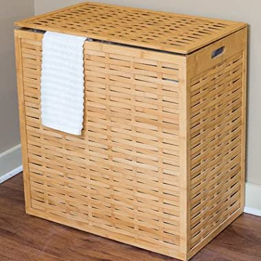 BirdRock Home Oversized Divided Clothes Laundry Hamper | Made of Natural Bamboo | 2 Sections | Laundry Organizer