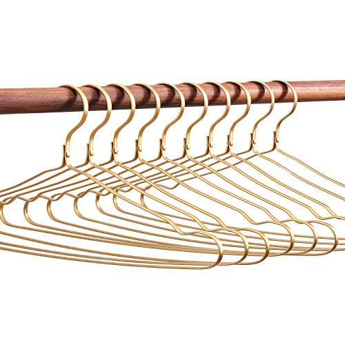 SänHahn Kleiderbügel Gold Metall Aluminium Samt Für Rücke Hosen Hemden Flach Filz Anzug Kleider Pillover 10 Stück 43CM (Gold)
