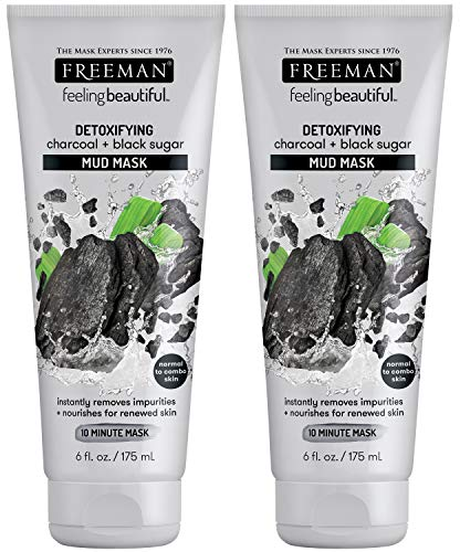 Freeman Detoxifying Charcoal Mud Facial Mask, Hydrating and Oil Absorbing Beuty Face Mask with Black Sugar, 6 oz, 2 Pack