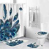 Damai 4PCS / Set Cortina de Ducha Cortina de baño de poliéster de Tela Impermeable, Juego de baño, Alfombras de baño Antideslizantes Alfombra de baño Alfombra de baño, Decoración de Arte Bohemio