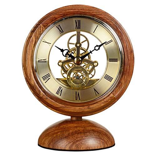 A-ZHP Reloj de Mesa clásica Sala de Estar Creativa del Reloj de Tabla Dormitorio Reloj de Mesa Perspectiva decoración del Reloj Retro Pequeño Reloj de Oficina Reloj de Cuarzo