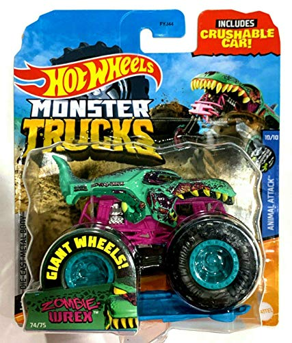 DieCast Hotwheels Monster Trucks 2020 [Zombie-Wrex 74/75] Animal Attack 10/10 with Crushable car