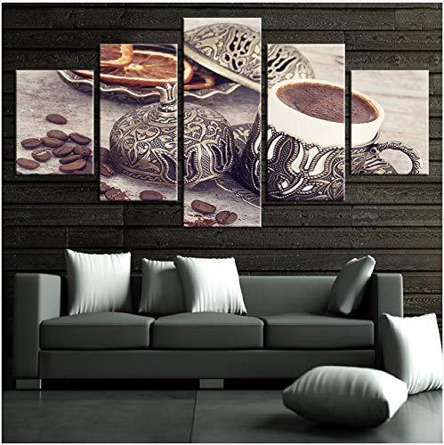 FCXBQ Kein Rahmen Leinwand Gemälde Wohnzimmer Dekor 5 Stücke Kaffeebohne Und Kaffeetasse Bilder Küche Wandkunst Poster