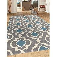 """Moroccan Trellis Contemporary Gray/Blue 5'3"""" x 7'3"""" Indoor Area Rug"""
