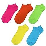 日本製靴下 カラフル レディースソックス 22-25cm 5足セット ブルー オレンジ グリーン ピンク イエロー 各1足 スニーカー丈