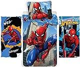 rainbowFUN.de Marvel Spiderman Parure de lit pour enfant 135 x 200 cm + 2 serviettes de toilette 70 x 140 cm Coton Spider-Man