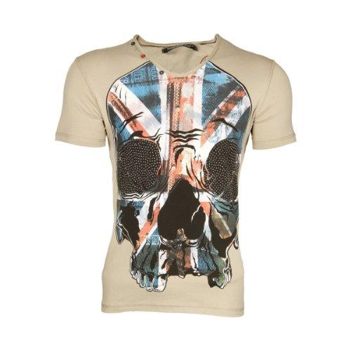 Cipo & Baxx Herren V-Neck Strass UK Flag Skull Print T-Shirt C-5320 Khaki S