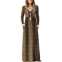 Lilbetter Women's Long Sleeve Loose Plain Maxi Dresses with Pockets