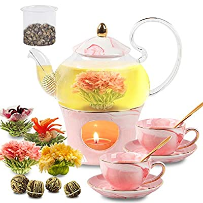 Tea Cup Set with Teapot Gift Sets for Girls Women, Porcelain Ceramic Coffee Tea Sets with 2 Cups, 2 Saucers, 2 Gold Spoons, 1 Teapot Warmer and 4 Blooming Tea Balls