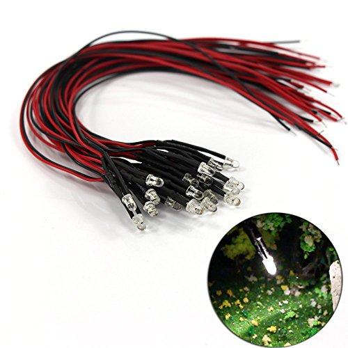 Evemodel L123W Neu 20 STK. LED 3mm 12V mit 20cm Kabel Weiss 12000mcd