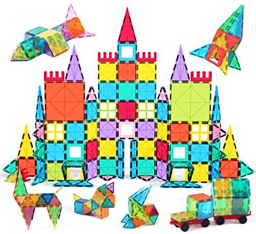 Image of Jasonwell 108pcs Magnetic Blocks Kids Magnetic Tile Building Blocks Set 3D Magnet Bulding Tiles Construction Playboard Magnet Tiles Educational Toys Gift for Toddler Boys Girls 3 4 5 6 7 8 10 Year Old