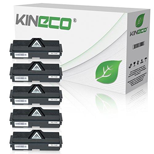 5 Toner kompatibel zu Kyocera TK-1140 für Kyocera Ecosys M2535dn, Ecosys M2035dn, FS-1035MFP/DP, FS-1135MFP, Schwarz je 7.200 Seiten