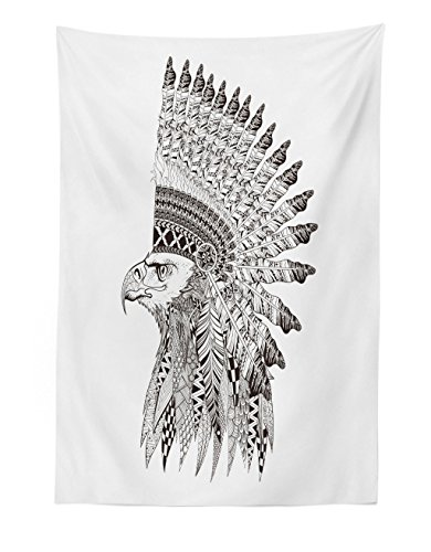 Lunarable Tattoo Tapestry, Warrior Fierce Eagle Feather Bennet Traditional Tribal, Fabric Wall Hanging Decor for Bedroom Living Room Dorm, 30' X 45', Black and White