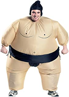 Inflatable Adults Sumo Wrestler Wrestling Suits Costume, Halloween Party Fun Big Fat Inflatable Costumes Beige