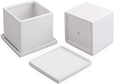 MyGift Matte White Square Ceramic Planters with Matching Removable Saucers, Set of 2