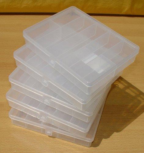 5 Stück Sortierkästen Sortierkisten Sortimentskästen 178 x 140 x 34 mm