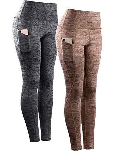 Neleus Women's Yoga Pant Running Workout Leggings with Pocket Tummy Control High Waist,9033,2 Pack,Black,Brown,L,EU XL