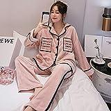 STJDM Bata de Noche,Pijamas de Pareja otoño Invierno Damas Franela Casual Camisones de Talla Grande Trajes de Servicio a Domicilio engrosados Pijamas Ropa de Dormir cálida L Mujer Rosa