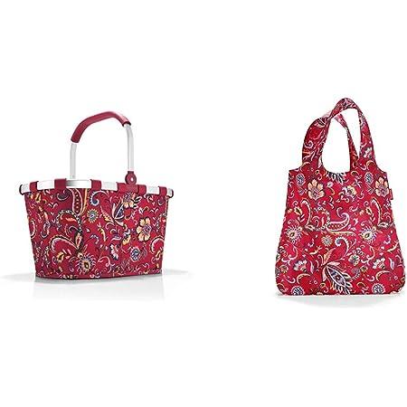Reisenthel Einkaufskorb, Polyester, Paisley Ruby, 48 cm & AT3067 mini maxi shopper paisley ruby – Einkaufsbeutel mit 15l Volumen bei winzigem Packmaß – B 43,5 x H 63 x T 6 cm