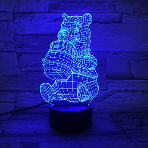 Lampe Illusion, Animation 3D Acrylique Lumière Winnie L'Ourson Lumière D'Atmosphère, Dégradé De Led, Veilleuse 7 Couleurs