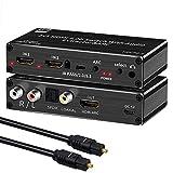 Conmutador HDMI 2.0 2 Puertos, Distribuidor HDMI 4K, Interruptor HDMI 2 en 1, con óptica y Extractor de Audio L/R, con Mando a Distancia, Compatible con UHD 4K@60Hz, HDCP 2.2 ARC 3D