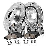 Callahan CCK04939 [2] REAR Premium Original Brake Calipers + [2] Drilled/Slotted Rotors + Ceramic Pads + Hardware