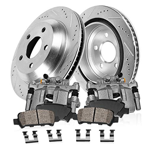 CCK11555 REAR OE [2] Remanufactured Calipers + [2] Drilled/Slotted Rotors + Quiet Low Dust [4] Ceramic Pads Kit