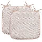 Turquoize Non Slip Memory Foam Seat Chair Cushion Pads Honeycomb Premium Comfort Memory Foam Chair Pads/Cushions with Ties - Seat Cover 16' x 16' Chair/Seat Cushion Pad, 2 Pack, Sand