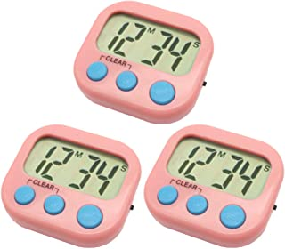 3 Pack Digital Kitchen Timer Magnetic Back Big LCD Display Loud Alarm Minute Second Count Up Countdown With ON/OFF Switch For Kitchen, Homework, Exercise, Game(3 Pink)
