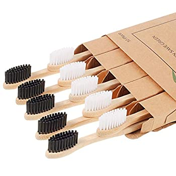 Biodegradable Bamboo Toothbrushes 10 Piece BPA Free Soft Bristles Toothbrushes Natural Eco-Friendly Green and Compostable
