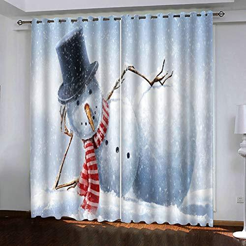 ANAZOZ 2 Cortinas Salon Cortina Poliester Habitacion Monigote de Nieve Gris Blanco Cortinas Ventana Tamaño 274x115CM