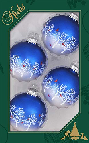 Christmas By Krebs Made in The USA Designer Seamless Bi-Color Royal Velvet/Silver Pearl 2 5/8' Glass Ball Ornaments with Trees & Cardinals, 4 Pieces