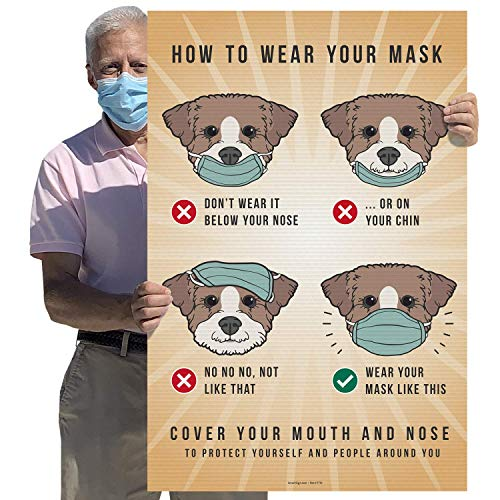 """SmartSign - F7TV """"How to Wear Your Mask, Cover Your Mouth and Nose"""" Large Sign 