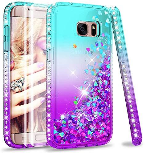 LeYi Compatible with Funda Samsung Galaxy S7 Edge Silicona Purpurina Carcasa con...