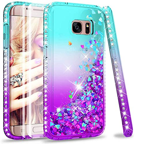 LeYi Galaxy S7 Edge Case with PET Screen Protector [2 pack], Girl Women 3D Glitter Liquid Cute Personalised Clear Transparent Silicone Gel TPU Shockproof Phone Cover for Samsung S7 Edge Blue Purple