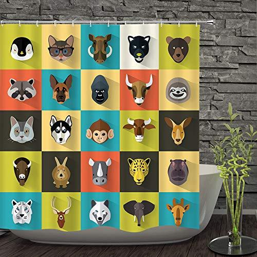 Stoff-Duschvorhang, Tierrassen, Tiere, Zoo, lustig, niedlich, niedlich, farbenfroher Hintergr&, Polyester, bedruckt, dekorativer Badezimmervorhang, inklusive Haken-Set (183 x 183 cm) (403)